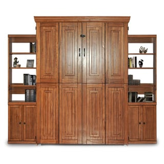 Chestnut Finish Queen Murphy Bed with Two Door Bookcase