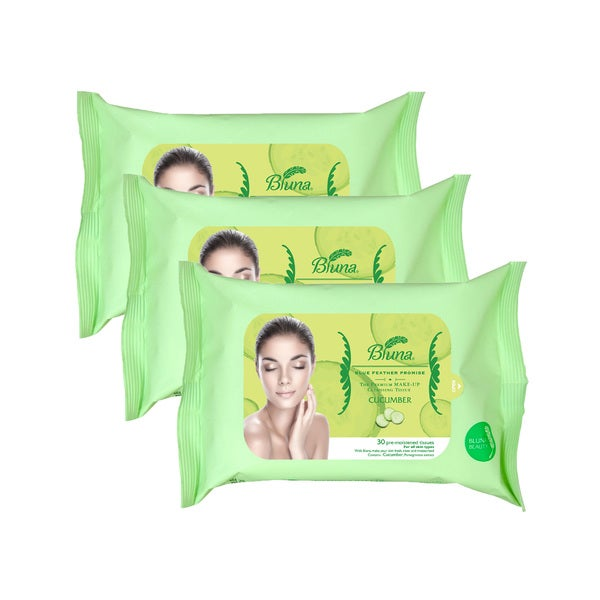 Bluna 30-count Makeup Removal Wipes with Cucumber Extract (Pack of 3)