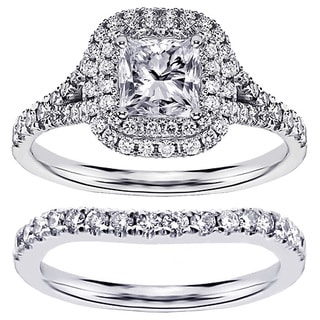 Platinum 1 1/2ct TDW Diamond Bridal Ring Set (G-H, SI1-SI2)