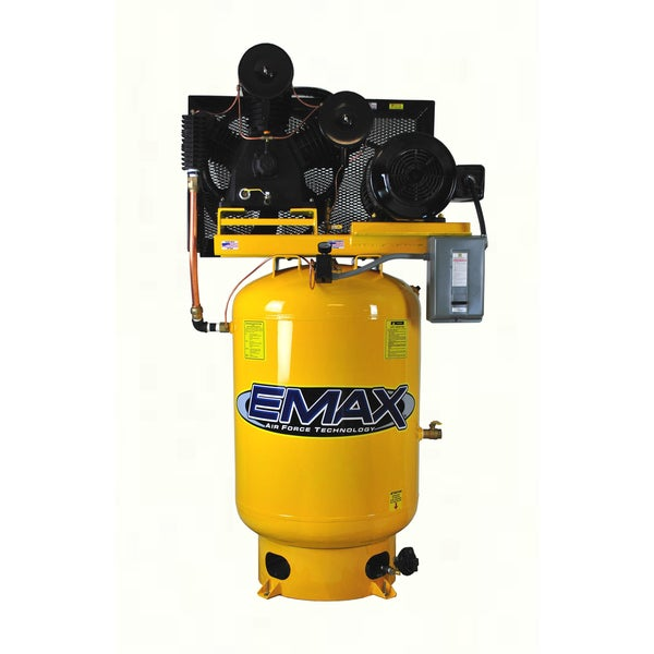 EMAX Industrial Plus 10 HP 1-Phase 2-Stage 120-gallon Horizontal Stationary Electric Air Compressor
