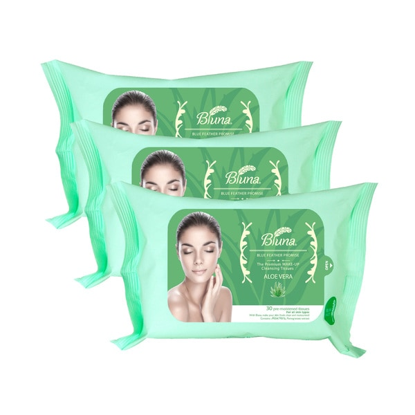 Bluna 30-count Makeup Removal Wipes with Aloe Vera Extract (Pack of 3)