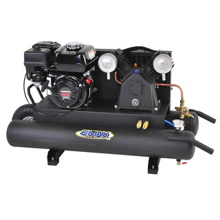 EMAX 10-gallon 6.5 HP 2-Cycle Portable Gas Wheelbarrow Air Compressor with Honda Gas Powered Recoil Start Engine