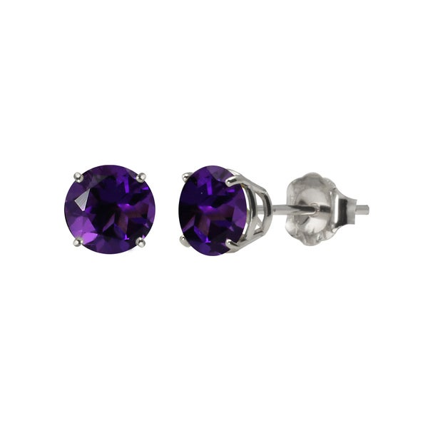 Sterling Silver 5mm Round Amethyst Stud Earrings