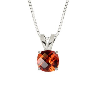 Sterling Silver Checkerboard Cushion 8mm Lab-created Padparadscha Pendant Necklace