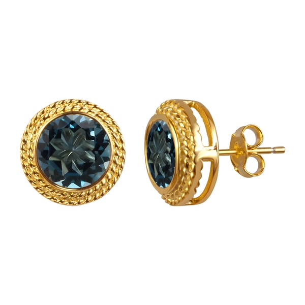 14k Yellow Gold Plated Round London Blue Topaz Earrings Studs