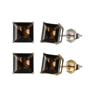 10k White or Yellow Gold 6mm Square Smoky Quartz Stud Earrings