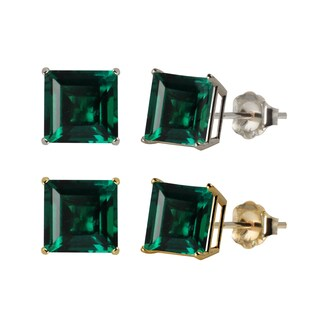 10k White or Yellow Gold 8mm Square Lab-Created Emerald Stud Earrings