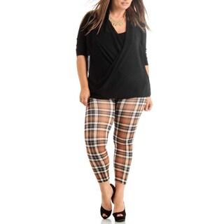 Brown Plus Size Plaid Ankle Leggings