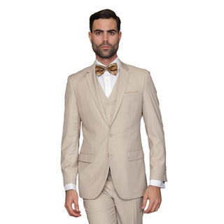 Statement Men's Lorenzo Tan Italian Wool 3-piece Slim Fit Suit