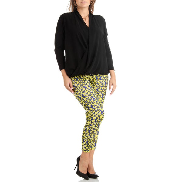 Plus Size Geometric Prism Print Blue And Yellow Leggings
