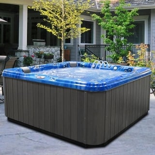 6-Person 56-Jet Lounger Spa with Bluetooth Stereo System with Subwoofer and Backlit LED Waterfall