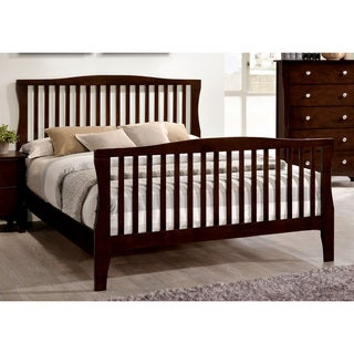Furniture of America Raylee Modern Brown Cherry Slatted Platform Bed