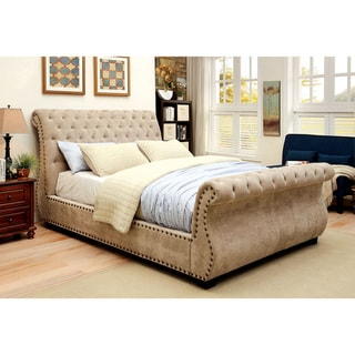 Furniture of America Weso Contemporary Mocha Fabric Tufted Sleigh Bed