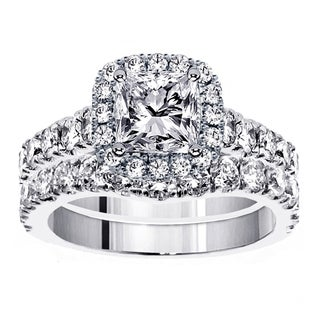 Platinum 3 1/3ct TDW Diamond Halo Bridal Ring Set (G-H, SI1-SI2)