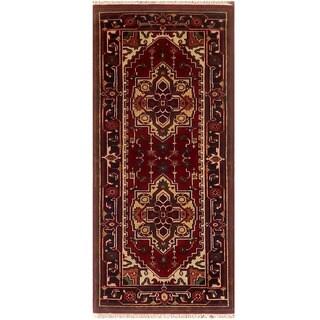Herat Oriental Indo Hand-knotted Serapi Red/ Black Wool Runner (2'7 x 6'1)