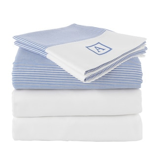 Pamuk Luxury Monogrammed Blue Stripe 300 Thread Count 100-percent Turkish Cotton 5-piece Duvet Cover and Sheet Set