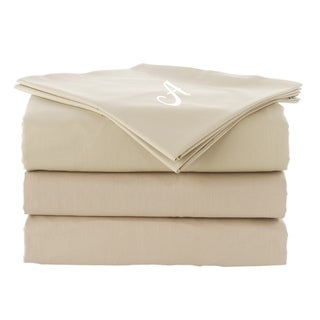 Pamuk Luxury Monogrammed Warm Sand Beige Solid 300 Thread Count 100-percent Turkish Cotton 5-piece Duvet Cover and Sheet Set