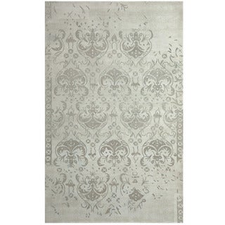 Herat Oriental Indo Hand-tufted Khotan Grey Wool Area Rug (8' x 10')