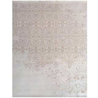 Herat Oriental Indo Hand-tufted Khotan Light Gray/ Gray Wool Runner (7'6 x 9'6)