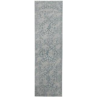 Herat Oriental Indo Hand-tufted Printed Erased Khotan Blue/ Light Grey Wool Runner (2'8 x 10')