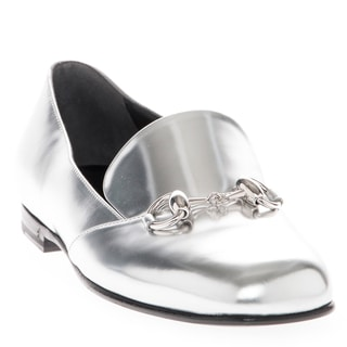 Gucci Metallic Silver Leather Horsebit Loafers