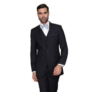 Statement Men's Lorenzo Navy Italian Wool 3-piece Slim Fit Suit