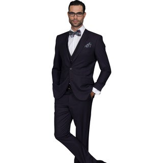Statement Men's Lorenzo Eggplant Italian Wool 3-piece Slim Fit Suit