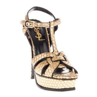 Saint Laurent Metallic Python-Stamped Tribute Platform Sandals