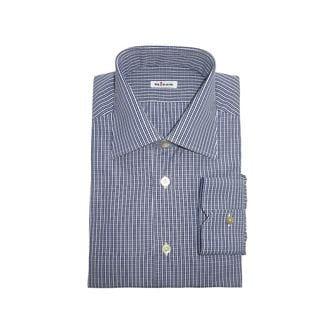 Kiton Men's Blue and White Plaid Casual Dress Shirt