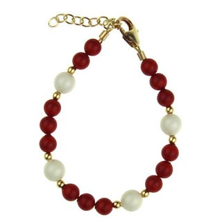 Adorable Red and White Coral Pearl Baby Bracelet