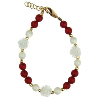 White Scattered Flowers with Red and White Pearl Baby Bracelet