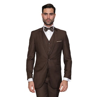 Statement Men's Lorenzo Brown Italian Wool 3-piece Slim Fit Suit