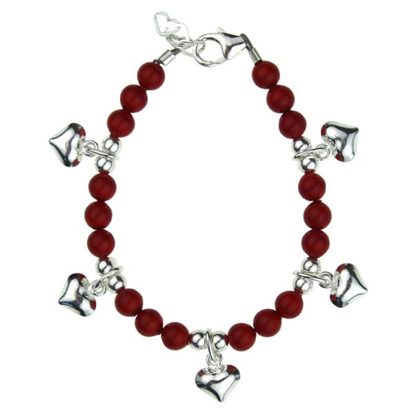 Luxury Red Pearls with Sterling Silver Puffy Heart Charms Baby Bracelet