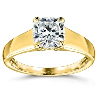 Annello 14k Yellow Gold 1 1/10ct Cushion Moissanite Classic Solitaire Ring