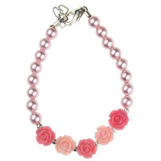 Flower Girl Pink and Rose Flowers and Pink Pearl Baby Bracelet