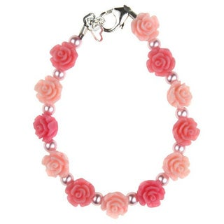 Cute Flower Girl Pink and Rose Flowers with Pink Pearls Baby Girl Bracelet