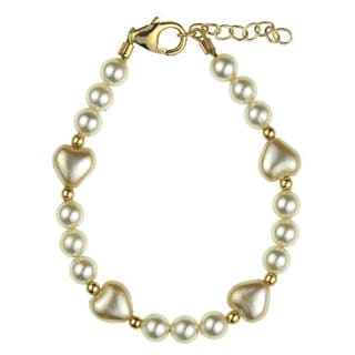 Adorable Ivory Austrian Crystal Pearl Heart Gold Baby Bracelet