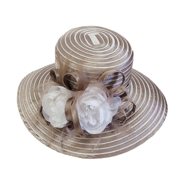 "Swan Hat, Womens ""All Year Around"" Crinolin Bow, Stripes Satin Ribbon Dressy Hat"