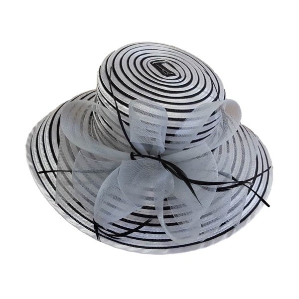 Women's 'All Year Around' Grey/ Black Crinolin Bow and Stripes Swan Hat