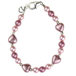 Adorable Pink and Red Austrian Crystal Pearl Heart Baby Bracelet