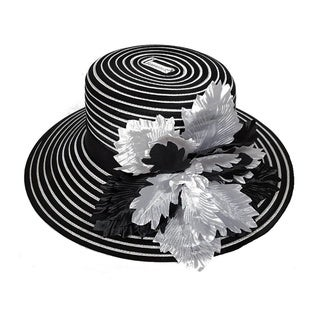 Women's 'All Year Around' Black/ White Silk Flower and Stripes Satin Ribbon Swan Hat