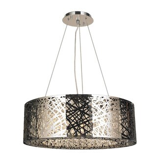 High Gloss 10 LED-light Chrome Finish and Clear Crystal Oval Suspension Chandelier