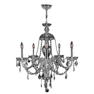 Venetian Italian Style 7-light Chrome Finish Crystal Candle Chandelier
