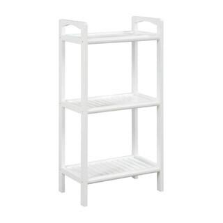 Somette Abingdon White Solid Birch Wood 3 Shelf Tower