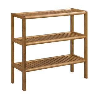 Somette Abingdon Cinnamon Solid Birch Wood 3 Shelf Large Console