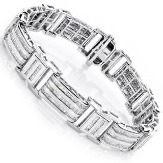 Luxurman 14K Gold 7.95ct TDW Men's Baguette Diamond Bracelet (H/I, SI/I)