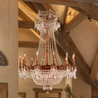 Majestic 18-light French Gold Finish and Golden Teak Crystal Royal Chandelier