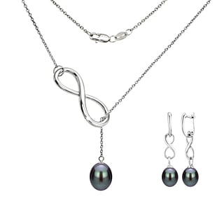 DaVonna Sterling Silver Black Cultured Pearl Pendant Infinity Lariat Necklaces and Dangle Earring Jewelry Set