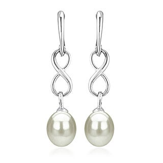 DaVonna Sterling Silver 8.5-9mm Long Shape White Freshwater Pearl Infinity Dangle Earrings
