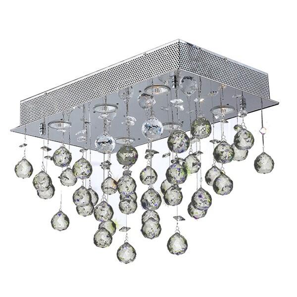 Crystal Rain 6-light Polished Chrome Finish Modern Flush Mount Ceiling Light